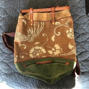 Lucky brand canvas, suede, leather backpack